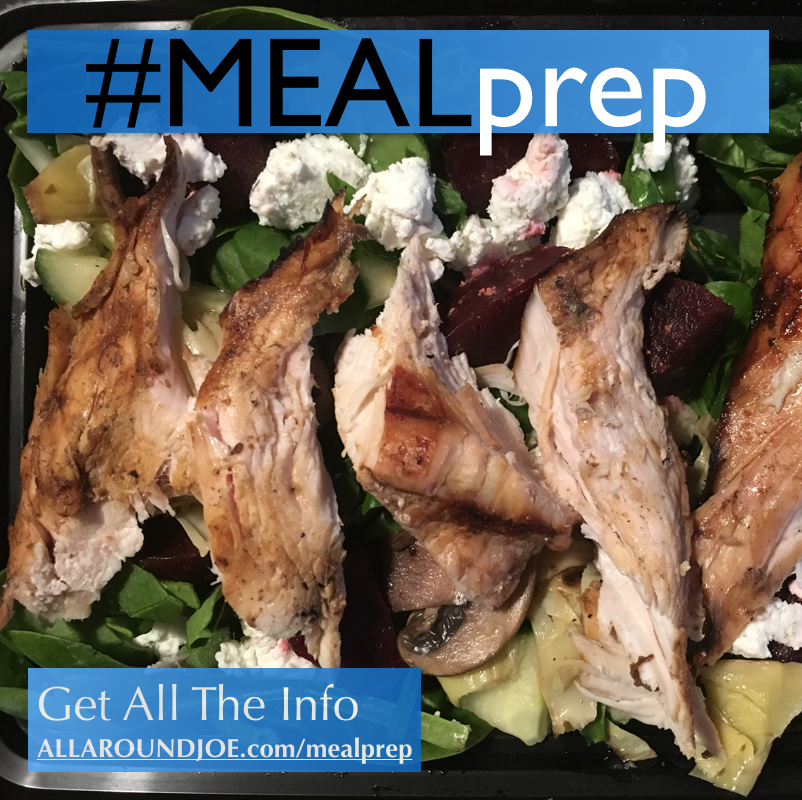 Meal Prep: Chicken, spinach, and beet salad (w/artichoke hearts)