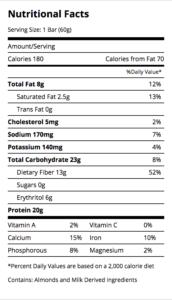 Protein bar label