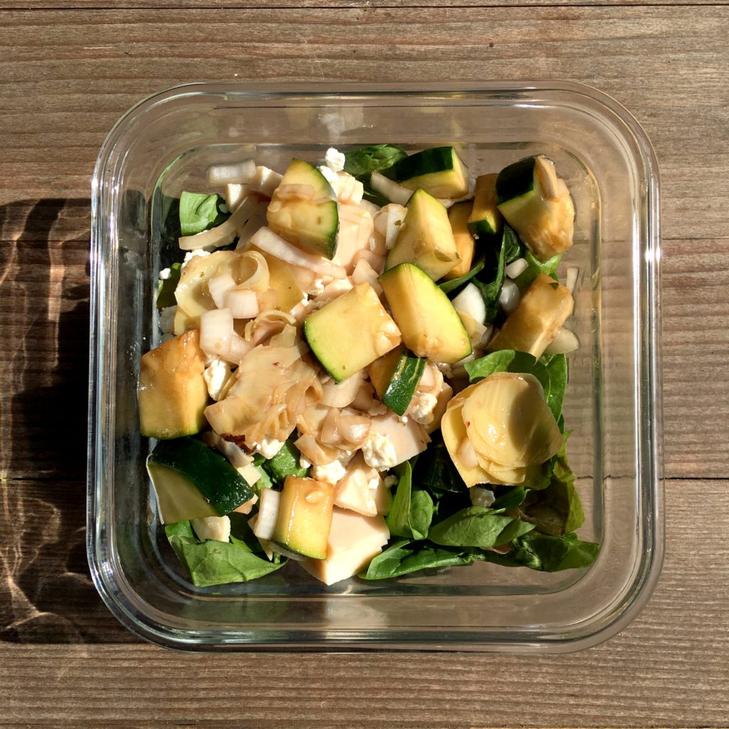 Turkey & Goat Cheese Salad for meal prep from top