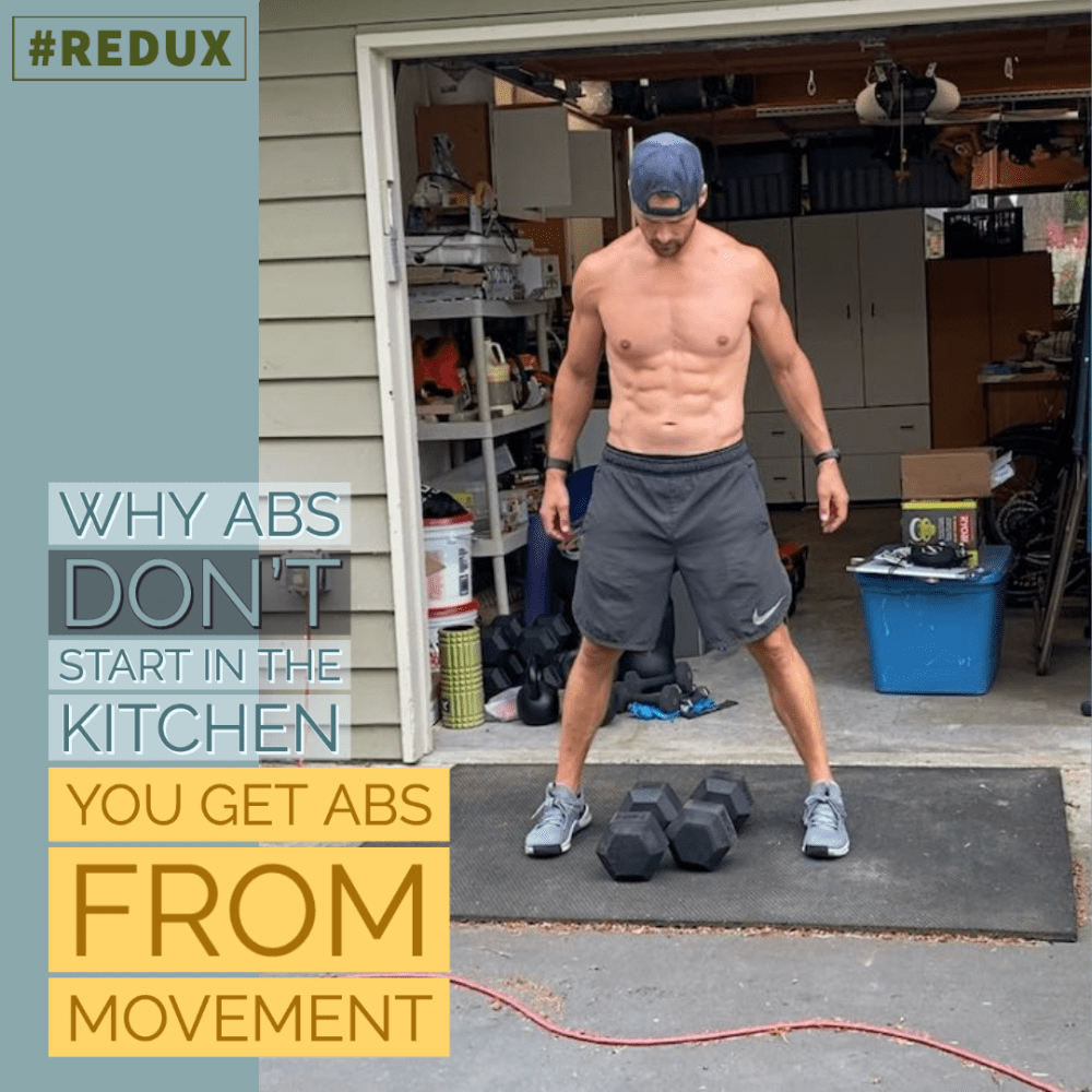 AAJ 257_ Why abs DON'T start in the kitchen, YOU Get Abs from MOVEMENT by Joe Bauer flexing abs outside of garage