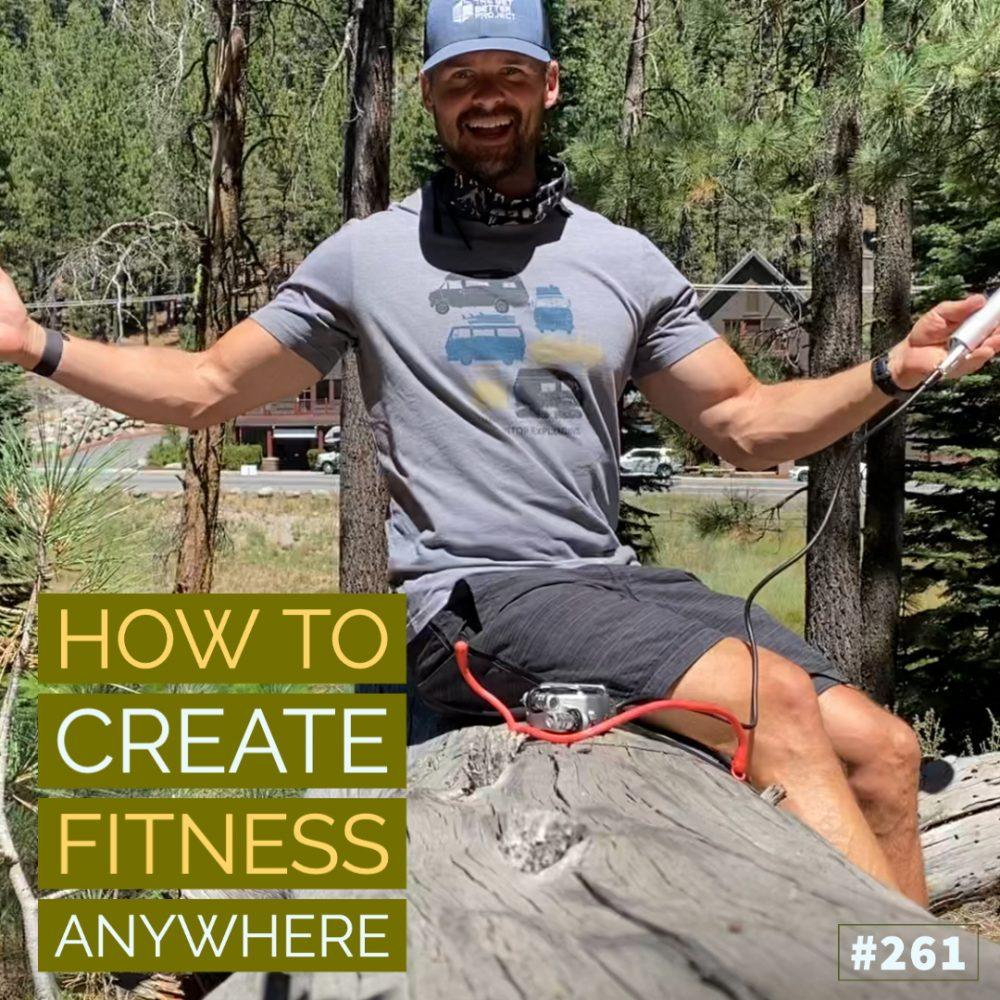 AAJ 261_ How to create fitness anywhere by Joe Bauer sitting on a log in the woods of Truckee California